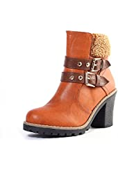 Alexis Leroy Brand 2015 Winter Fashion Womens' Studded Buckle Style Combat Ankle Boots
