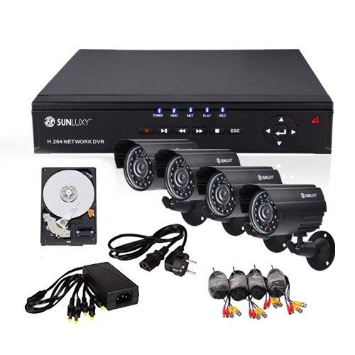 SUNLUXY® 8CH H.264 CCTV DVR Recorder Sicherheit Video überwachungssystem 4 Farb CMOS Überwachungskamera Set Wasserfest IR Nachtsicht Außen mit 500GB Festplatte