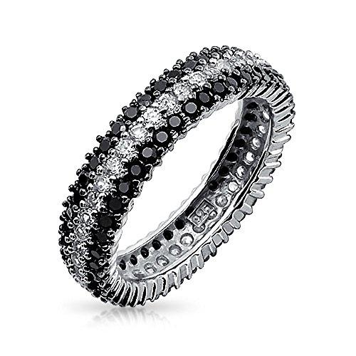 Bling Jewelry Argento 925 Rotonda trasparente e nero Onyx CZ Eternità simulato Anello
