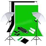 Excelvan Photography Photo Portrait Studio Continuous Lighting Kit 1250W Daylight Umbrella + Backdrop Support Stand (10x6.5 ft) + 3 Background (9x6 ft, White Black Green)