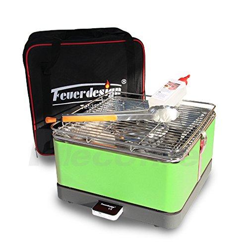 Holzkohle Tischgrill TEIDE – Rauchfrei – v. Feuerdesign – Grün, im Spar Pack mit Grill-Zubehör bestellen