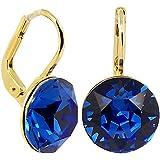 Ohrringe mit SWAROVSKI ELEMENTS - Farbe Gold Safir Blau - in Etui