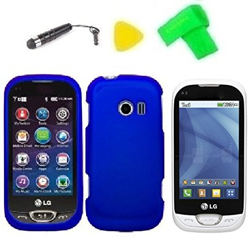 Phone Cover Case Cell Phone Accessory + Extreme Band + Stylus Pen + Lcd Screen Protector + Yellow Pry Tool For Lg Freedom Ii 2 Un280 (Blue)