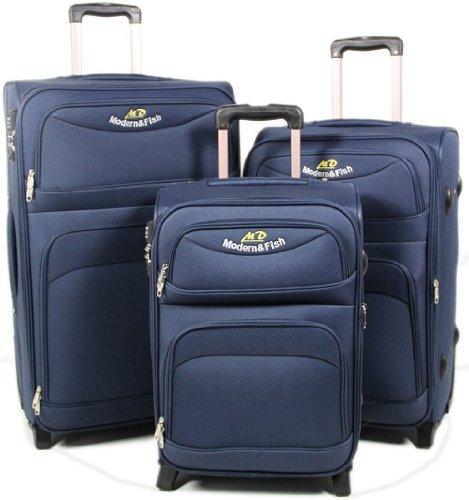Blau 3-tlg. 8009 Kofferset Trolley Trolleys Koffer