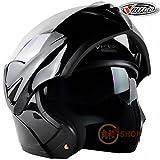 バイクヘルメット システムヘルメット フリップアップヘルメット フルフェイス ジェット VT-808[01.単色・黒(艶有り)/L]