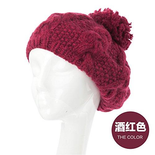 YangR*Cappelli invernali bambini marea a maglia di lana cappelli graziosa sfera lordo a maglia orecchio caldo kit tappo cappuccio di testa , il vino rosso