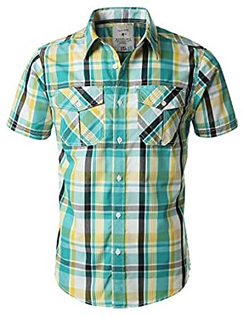 Urbancrews Mens Hipster Hip Hop Button Down Plaid Shirt