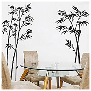 Upright Black Bamboo Removable Wall Stickers