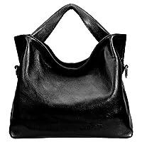 PASTE Women's Wrist Genuine Leather Totes/Shoulder Bag,Handbag Black