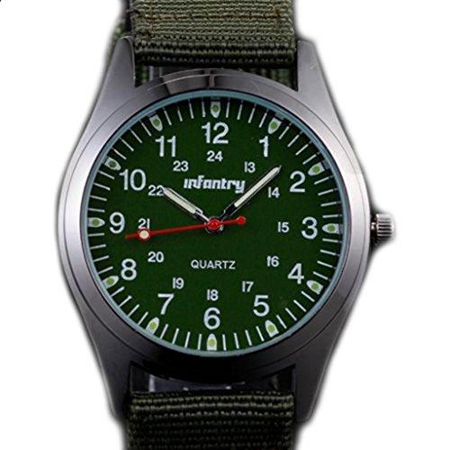 Infantry Nightvision Military Quartz Sports Mens Wrist Watch-Green