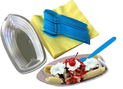 Outside the Box Papers Clear Plastic Banana Split Boats 8 oz. - Yellow Luncheon Size Napkins - Aqua Blue Plastic Spoons- 24 Pack