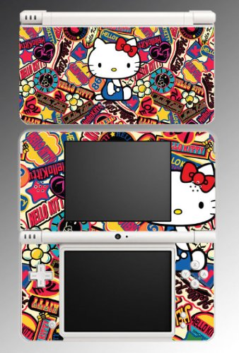 Hello Kitty World Badge Cute Cat Kitten Game Vinyl Decal Cover Skin Protector #8 for Nintendo DSi XL