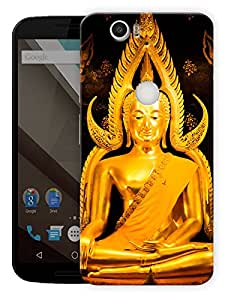 "Buddha In Gold - Buddhist God Printed Designer Mobile Back Cover For ""Google Nexus 6 Plus"" By Humor Gang (3D, Matte Finish, Premium Quality, Protective Snap On Slim Hard Phone Case, Multi Color)"