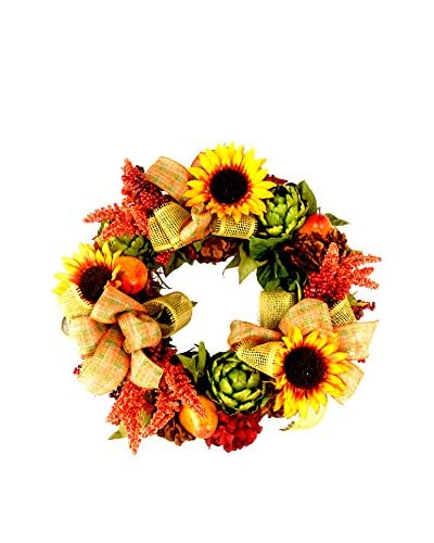 Creative Displays Sunflower and Mixed Floral Wreath, Yellow/Orange/Green