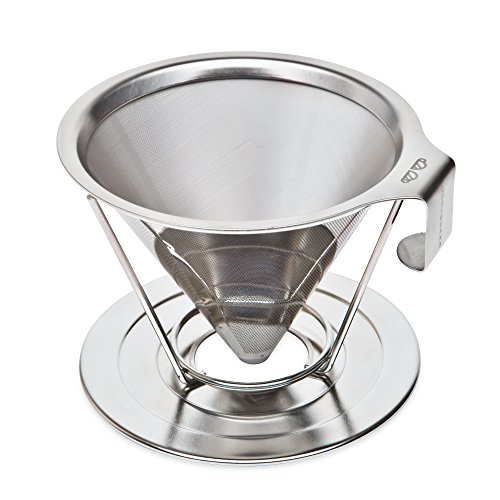 Reusable Pour Over Coffee Filter with Upgraded Cup Stand, Handle, and Stainless Steel - Portable Paperless Drip Coffee Maker Brews 1 to 4 Cups (One Cup Hot Water Heater compare prices)
