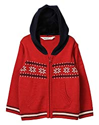 Beebay Floral Knit Hooded Sweater (B2815206701925_Red_6-12M)