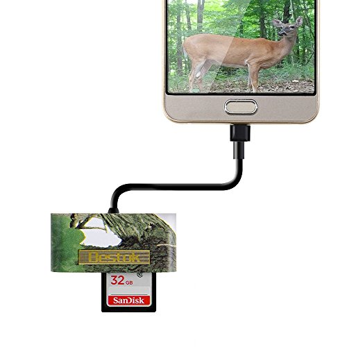 Bestok-Trail-and-Game-Camera-Viewer-Card-Reader-for-Android-Phones-Reads-SD-and-Micro-SD-Cards-Micro-USB-Connector-for-Hunting-Game-Camera-with-Storage-Case
