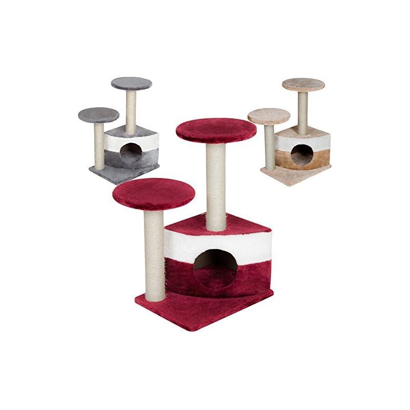 TecTake Arbre à chat griffoir grattoir - diverses couleurs au choix - (Bordeaux)