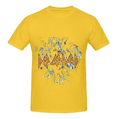 Def Leppard Jazz Mens O Neck Cotton Tee Yellow