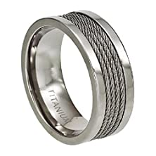 buy Men'S Polished 8.3Mm Titanium Ring With Four Center Cables Size 13