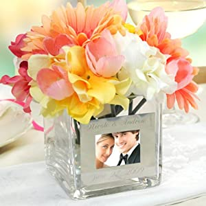 Personalized Square Glass Vase with Photo Frame