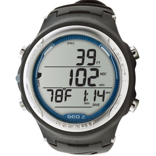 Oceanic GEO 2.0 Scuba Diving Wrist Computer with FREE Online Training (Slate Blue Ring/Black Body & Band)