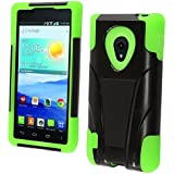 HRWireless T-Stand Impact Kickstand Hybrid Double Layer Fusion Cover Case for LG Lucid2 VS870 - Retail Packaging - Black/Neon Green