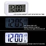 "HITO™ 6"" Alarm Clock w/ Date and Temperature Display, Snooze, White Background Light (at night), Touch-activated Light - Battery backup/USB powered (Orange)"