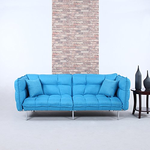 Divano Roma Furniture Collection - Modern Plush Tufted Linen Fabric Splitback Living Room Sleeper Futon (Sky Blue) (Light Blue Futon compare prices)