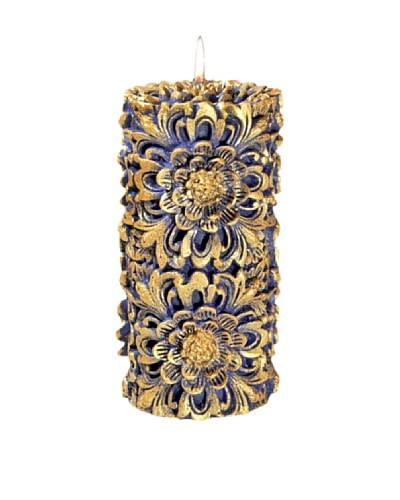 Volcanica Dendritic Pillar Candle, Blue/Gold, Medium