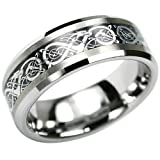 Bling Jewelry Celtic Dragon Comfort Fit Black Inlay Tungsten Carbide Mens Wedding Ring