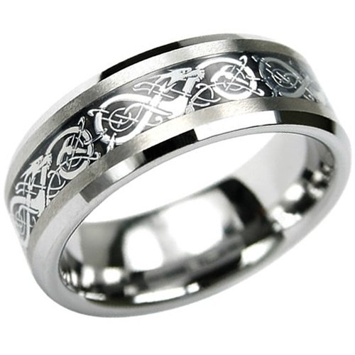 Bling Jewelry Celtic Dragon Comfort Fit Black Inlay ...