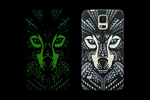 (Case for Galaxy S5/I9600) Bon Venu Night-luminous products New Arrival Creative Luxury Life Of a King Animal Elephant Tiger Lion Cat Wolf Hard Case for Samsung Galaxy S5 / Galaxy i9600 case+Screen Protector(Pattern 1)