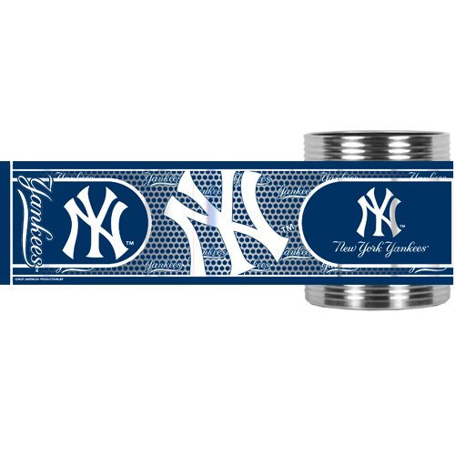 Mlb New York Yankees Metallic Can Holder, Stainless Steel front-1071051