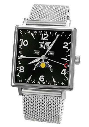 Davis-1730MB-Mens Square Moonphase Watch-BlackDial-Day Date Month-Mesh strap