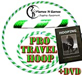 Adult Weighted Hula Hoop (White/UV Green) Large Travel Hula Hoops For Dance, Fitness & Exercise + Hooping DVD!