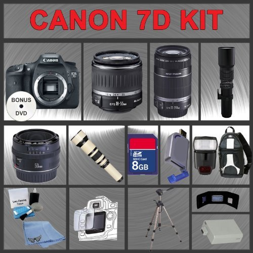 Canon EOS 7D Digital SLR Camera Body with Canon 18-55mm and Tamron AF 75-300mm f/4.0-5.6 LD for Canon Digital SLR Cameras + 4GB Memory Card + Digital Flash + SD Memory Card Reader + Li-Ion Replacement Battery Pack + Deluxe Cleaning Kit + Carrying Case + T