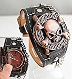 Watch Magasin Cool Copper Skull With Cover Design Black Leather Watch Men Fashion Sports Wrist Watch Dropship Vp0093 by Watch Magasin...