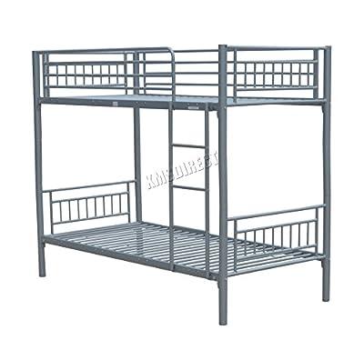 FoxHunter 3FT Single Metal Frame Bunk Bed Children Kids Twin Sleeper No Mattress Bedroom Furniture Silver MBB03