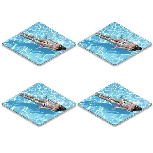 Liili Square Coasters (4 Piece) Woman in a polka dot bikini swimming underwater Photo 5287793