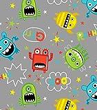 Mayhem Monster Tossed FLANNEL 1/2 Yard 100% Cotton Flannel Fabric ~ Children's Print