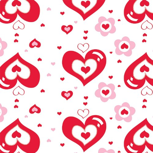"Party Essentials Heavy Duty Printed Plastic Table Cover, 54 x 108"", Valentines"