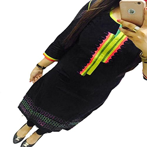 Kesu-Fahion-Womens-Embroidered-semi-stitched-Selfie-Kurti-In-Georgette-Fabric-KUKRT1014Free-SizeBlack