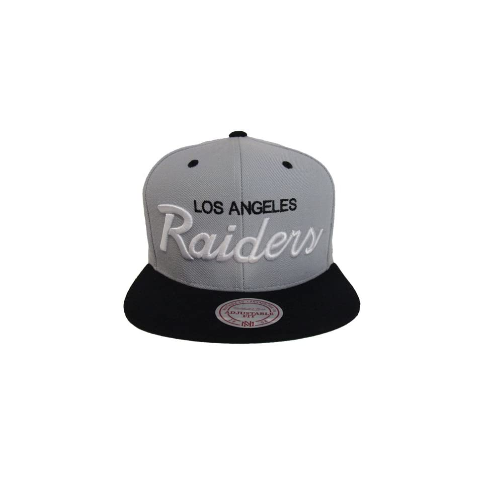 ac9371b04dd Los Angeles Raiders Mitchell   Ness Script Snapback Cap Hat Grey Black