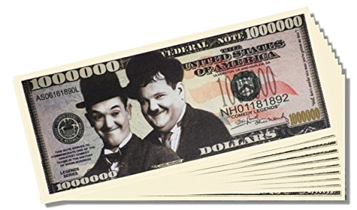 Laurel and Hardy Novelty Million Dollar Bill - 25 Count with Bonus Clear Protector & Christopher Columbus Bill