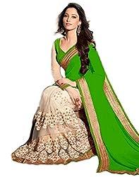 Shyam Creation Women green Fancy Georgette sarees