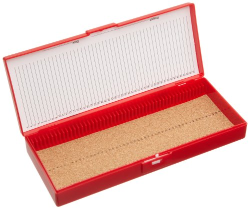 "Heathrow Scientific Hd15996B Red Cork Lined 50 Place Microscope Slide Box, 8.3"" Length X 3.38"" Width X 1.25"" Height"