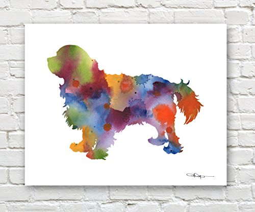 """Cavalier King Charles Spaniel"" Abstract Watercolor Art Print By Artist Dj Rogers"