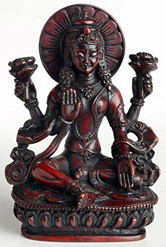 buddhafiguren-lakshmi-statue-14-cm-resin-rotbraun-die-gottin-der-liebe-und-fruchtbarkeit-des-glucks-