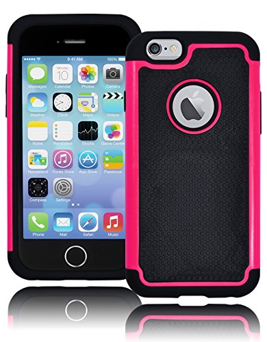 "Bastex Hybrid Deluxe Hot Pink And Black Rugged Shock Armor Case For Apple Iphone 6, 4.7"" 6Th Generation front-681585"